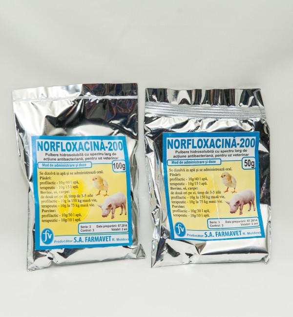 Norfloxacin  20% pulbere 100g 50g